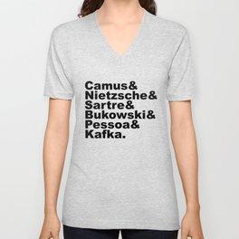 Camus& Nietzsche& Sartre& Bukowski& Pessoa& Kafka. Unisex V-Neck