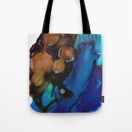 Brown Blue Abstract Tote Bag