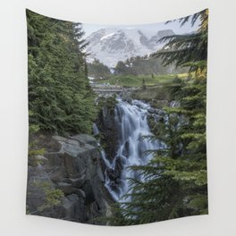 Mount Rainier and Myrtle Falls, Late Afternoon, vertical Wall Tapestry