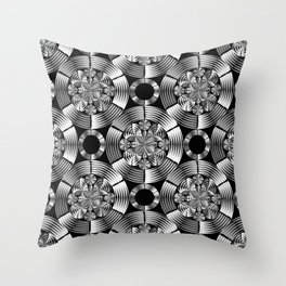 Shiny metallic damask Throw Pillow