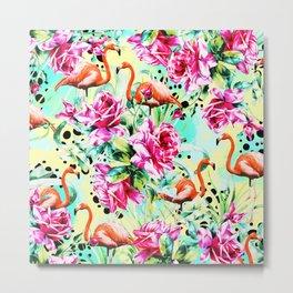 Flamingos of roses Metal Print