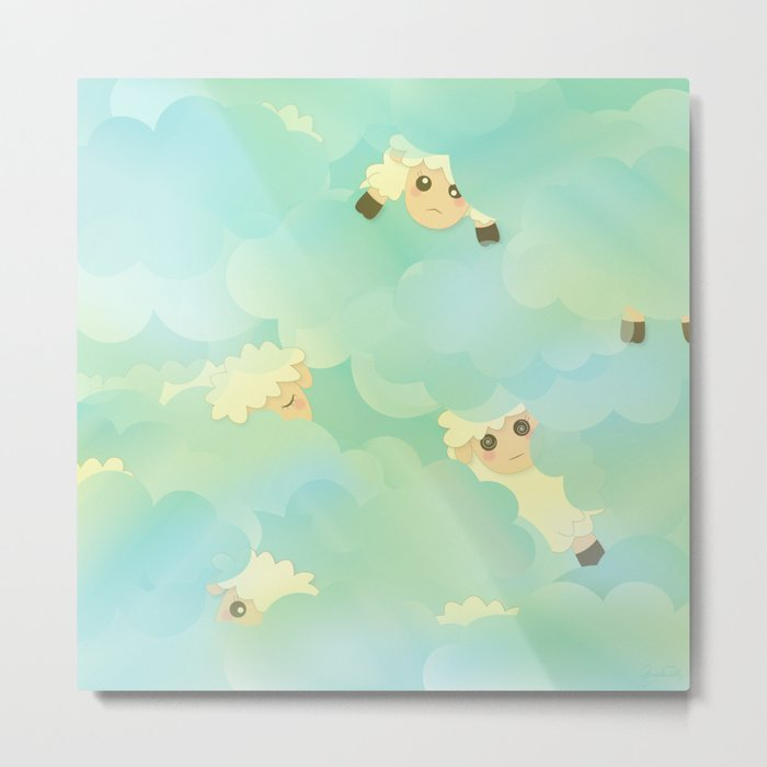 Heavenly Baby Sheep I - Mint Green, Baby Blue Colors Sky Background Metal Print