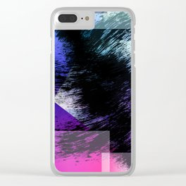 Heavy Black Brushstrokes over Magenta and Purple Shapes Clear iPhone Case