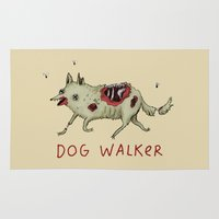 gore Area & Throw Rugs featuring Dog Walker by Sophie Corrigan
