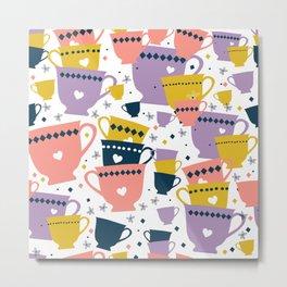 Colorful Cup Pattern Metal Print