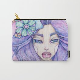 JennyMannoArt Colored Graphite/Keira the Mermaid Carry-All Pouch
