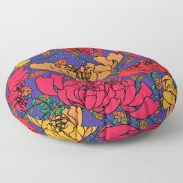 Flowery Pattern Blue Magenta Floor Pillow