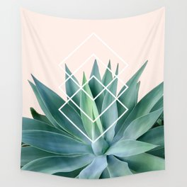 Agave geometrics - peach Wall Tapestry