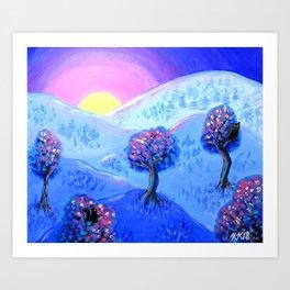 Blue Acrylic Mountain Sunset Landscape Painting Art Print