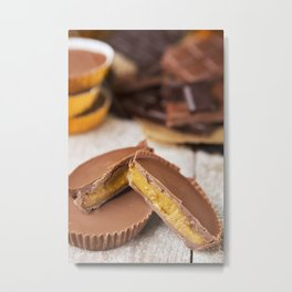 II - Homemade peanut butter cups on a rustic table Metal Print