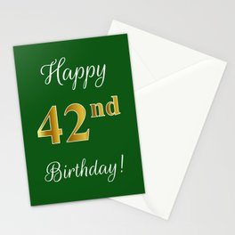 """Elegant """"Happy 42nd Birthday!"""" With Faux/Imitation Gold-Inspired Color Pattern Number (on Green) Stationery Cards"""