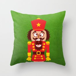 A Christmas nutcracker breaks its teeth and goes nuts Throw Pillow