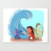 lilo and stitch Canvas Prints featuring Lilo & Stitch by Orelly