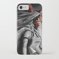 mononoke iPhone & iPod Cases featuring Miyazaki's Mononoke Hime Digital Painting the Wolf Princess Warrior Color Variation by Barrett Biggers