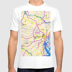 Tokyo Map Design MEDIUM White Mens Fitted Tee