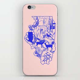 Illinois Wycinanki Pink and Blue iPhone Skin
