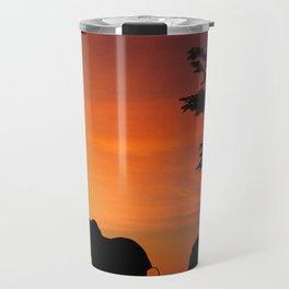 Elephants in the African sunset Travel Mug
