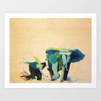 "elephants Art Prints featuring ""Elephants"" by James Penfield"