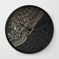 black and gold Wall Clocks featuring black & gold by Pink Berry Patterns