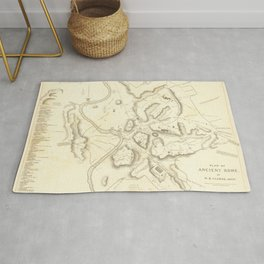 Vintage Map Print - 1830 Plan of Ancient Rome. By W.B. Clarke, Archt Rug