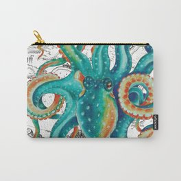 Teal Octopus Tentacles Vintage Map Nautical Carry-All Pouch