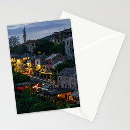 Night Mostar city Stationery Cards