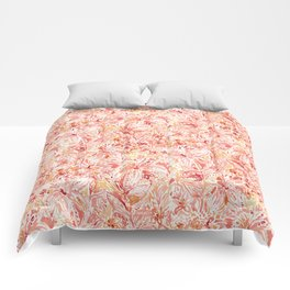 LILY LUST Peach Painterly Floral Comforters