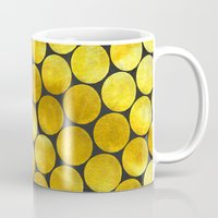 gold dots Mugs featuring Gold Polka Dots by Juste Pixx Designs