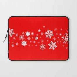 Red Christmas Snowflake  Banner Laptop Sleeve