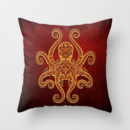 Intricate Red and Yellow Octopus Throw Pillow