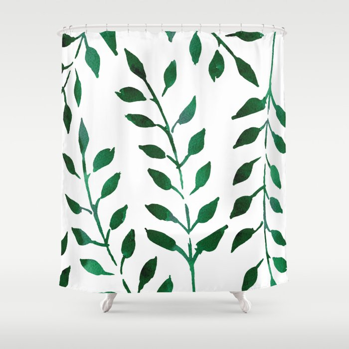 Minimalist Forest Green Leaves Watercolor Shower Curtain