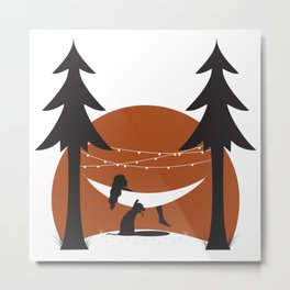 Camping with Dogs Metal Print