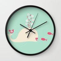 swim Wall Clocks featuring Swim  by Joanna Chrysohoidis