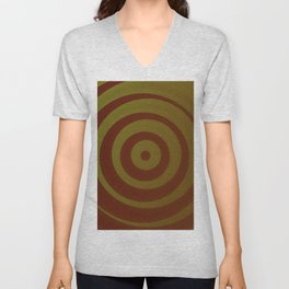 Crimson and gold abstract circles Unisex V-Neck