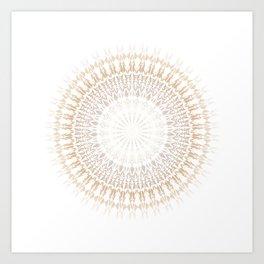 Beige White Mandala Art Print
