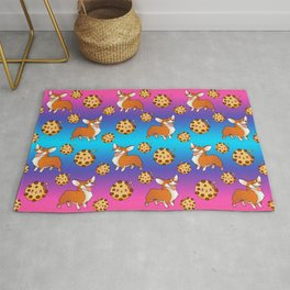 Cute happy playful funny puppy corgi dogs, sweet adorable yummy chocolate chip cookies cartoon pretty rainbow blue pink design. Rug