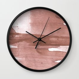 Rosy brown streaked wash drawing Wall Clock
