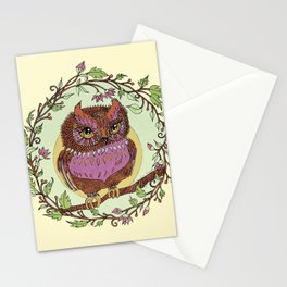 Small Pink Owlet With Wildflower Wreath Stationery Cards
