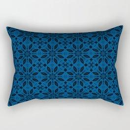 Lapis Blue Floral Pattern Rectangular Pillow