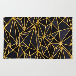Gold and blue pattern I Rug