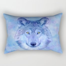 Sky blue wolf with Golden eyes Rectangular Pillow