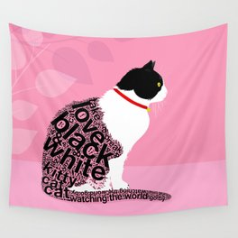 Typographic black and white kitty cat portrait on pink 2 #typography #catlover Wall Tapestry