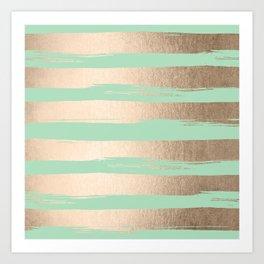 Painted Stripes Gold Tropical Ocean Green Art Print