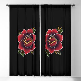 Red Rose Tattoo American Traditional Blackout Curtain