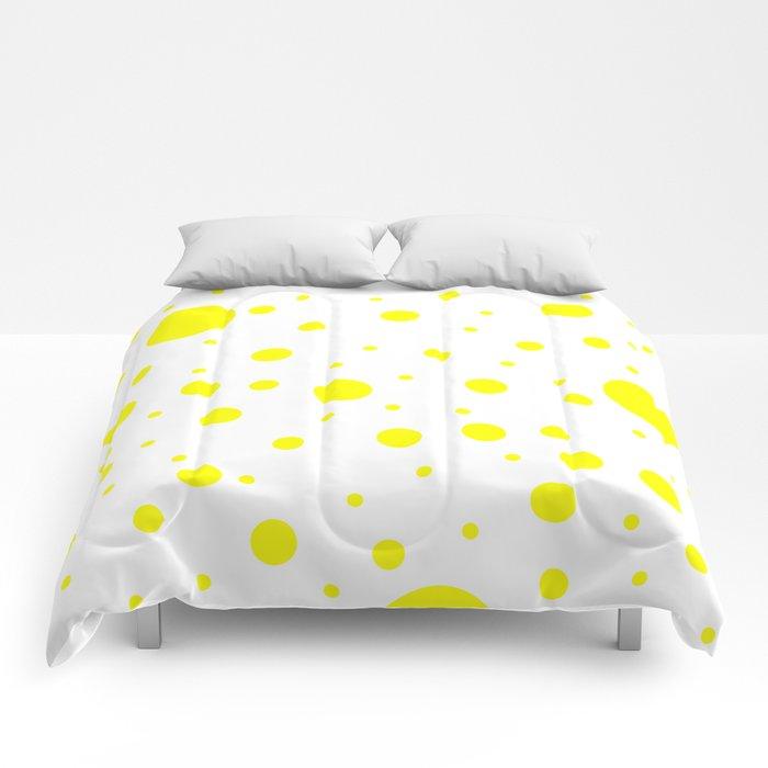 Mixed Polka Dots - Yellow on White Comforters