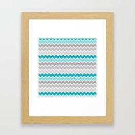 Turquoise Teal Blue Gray Chevron Framed Art Print