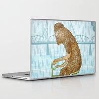 bigfoot Laptop & iPad Skins featuring Dirty Wet Bigfoot Hipster by Santiago Uceda