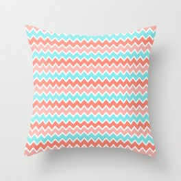 Coral Peach Pink and Aqua Turquoise Blue Chevron Throw Pillow