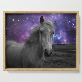 Horse Rides & Galaxy skies muted Serving Tray