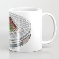 arsenal Mugs featuring The Emirates Stadium by Conal Deeney